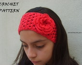 Crocheted headband/headwrap with flower PATTERN PDF-FILE