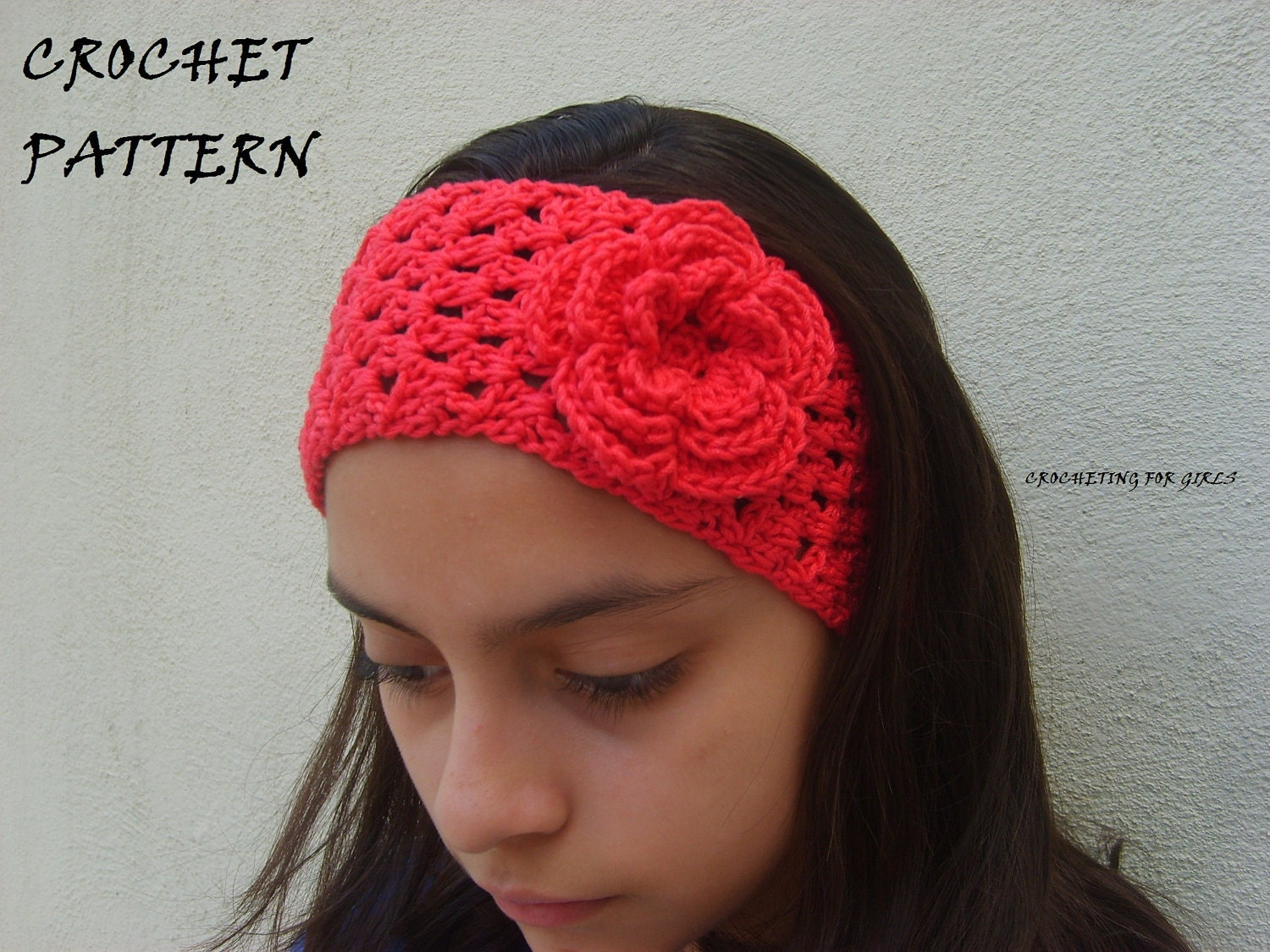 Crochet Wide Headband With Flower Free Pattern : Crocheted headband/headwrap with flower by crochetingforgirls