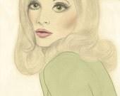 Vintage 60s UK Vogue Cover Fashion Illustration Print