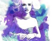Amethyst Blue Hues- Watercolor Fashion Illustration Abstract Print