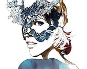 Masquerade - Watercolor Fashion Illustration Sketch Abstract Print