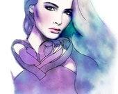 Blush -Watercolor Fashion Illustration Fine Art Print Vogue Russia