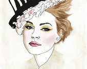 The Cat Eyes in the Hat -Fashion Illustration Drawing Mixed Media Fine Art Print