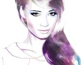 Amethyst and Amber - Watercolor Fashion Illustration Fine Art Print Vogue Latin America Cover