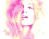 Pink Carnation- Watercolor Fashion Illustration Abstract Print