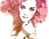 Watercolor Mixed Media Print Fashion Illustration Poster Soft Rose Pink