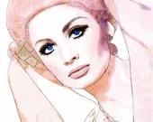 Mauve Vintage 60s Vogue Uk Cover watercolor Fashion Illustration Painting Print