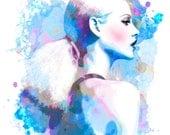 Violet Blue Drops- Watercolor Fashion Illustration Abstract Print