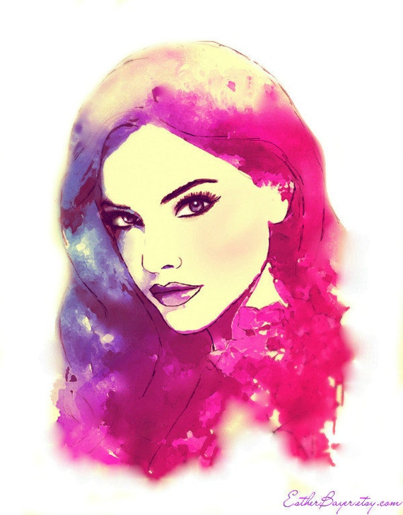 Moonlight Sunset - Watercolor Mixed Media Glamour Fashion Illustration Painting Art Print