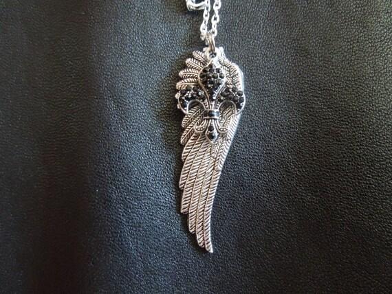 Angel Wing Fleur De Lis Necklace