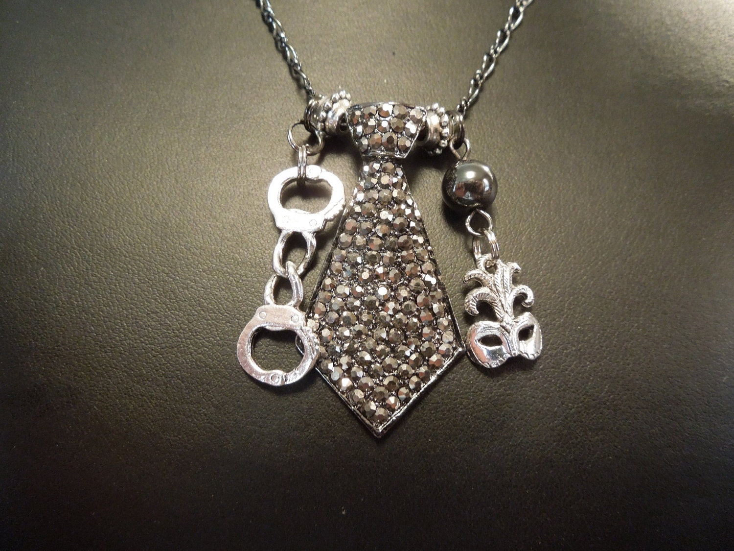 fifty shades of grey inspired necklace by klockwerkkreations