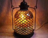 Reserved for Nadine Only--Metal Mosaic Glass lantern lamp electric table lamp hanging lighting