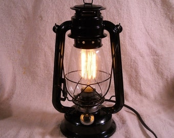 Black Electric lantern industrial table lamp hanging lighting with edison marconi filament bulb squirrel cage men's gift
