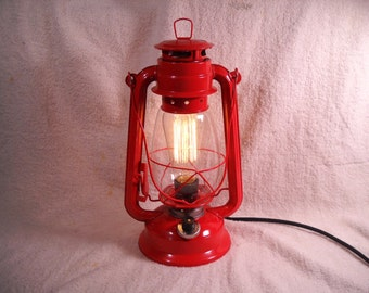 Red Electric lantern industrial table lamp hanging lighting with edison marconi filament bulb man's gift