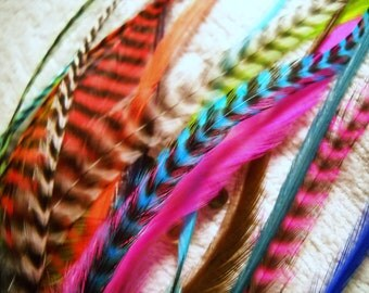 20 Long Thick Fuzzy Feather Hair Extensions Feathers Wholesale Grizzly and Straight color Rooster with Link Beads Included