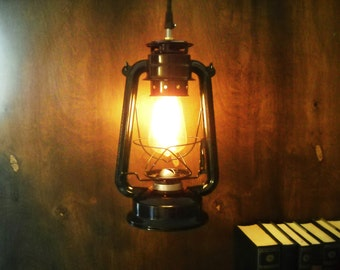 Electric Metal lantern black or red industrial pendant light lamp hanging lighting edison marconi filament bulb squirrel cage men's gift