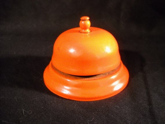 Half Off Sale Rustic Orange Vintage Antique Store Metal Shop Bell from the 50s