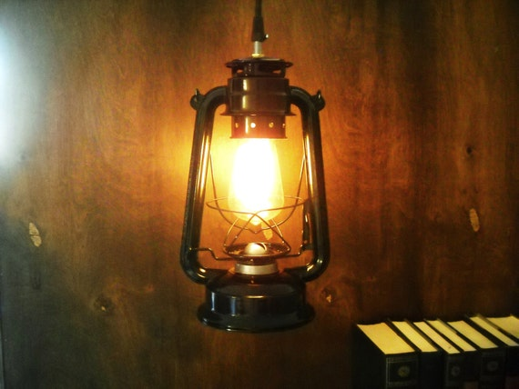 Electric Metal lantern black or red industrial pendant light lamp hanging lighting edison marconi filament bulb squirrel cage men's gift