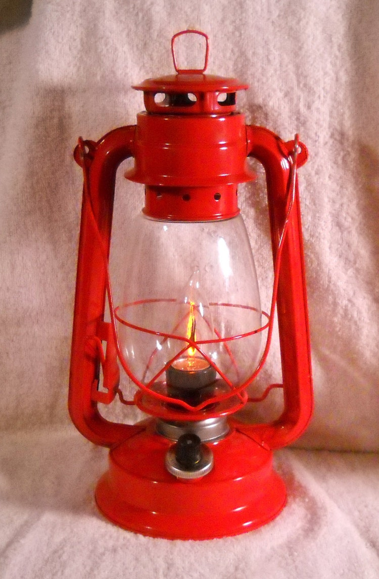 Red Electric Lantern Industrial Table Lamp Hanging By