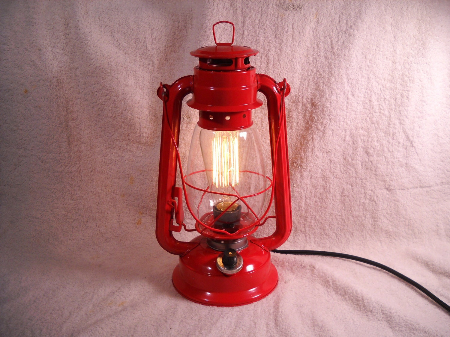 Red Electric Lantern Industrial Table Lamp Hanging Lighting