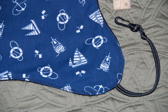 Ferret navy sailing theme canvas and black fleece hammock with cord straps and plastic clips