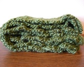 Warm and Fuzzy Long Green Crochet Scarf
