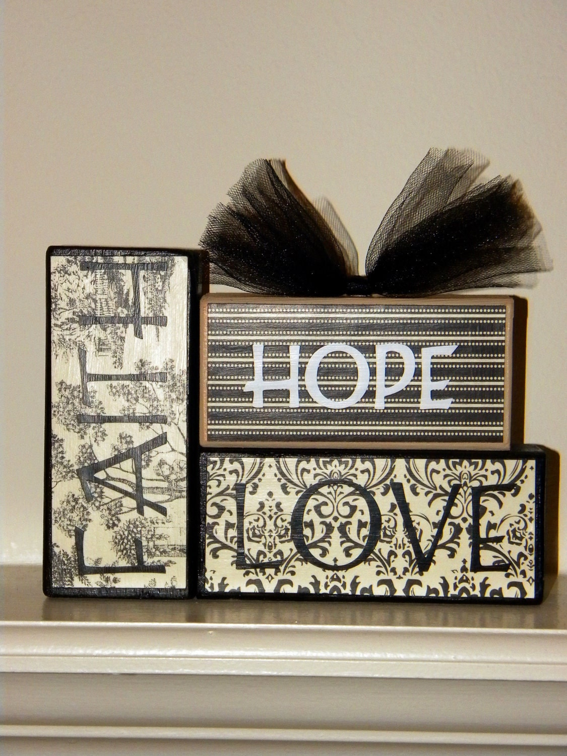 Faith Hope Love Wooden Block Decor