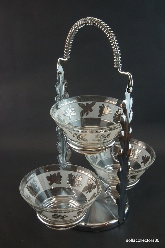 1950s-60s Chrome 3 Bowl Relish/Condiment Caddy with Silver Decorated Bowls