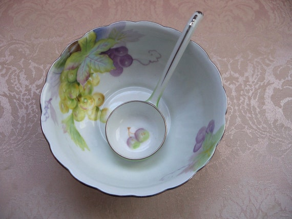 RESERVED FOR MELANIE Antique Noritake Bowl Ladle Hand Painted 1920's Noritake Grape Condiment Bowl with Matching Ladle