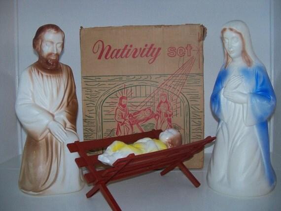 1969 Blow Mold Empire Nativity Set With Original Box Four