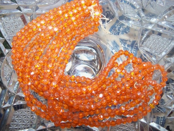 Vintage Czechoslovakian Glass BEADS 4mm Tangerine Gem Cut Beads ca 30s - full mini-hank