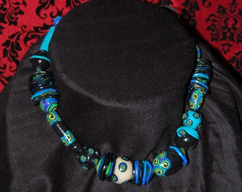 Bold Blue and Black Necklace spirals origional beads and design never to be duplicated