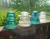 Lot Four Vintage Insulators Green Brookfield