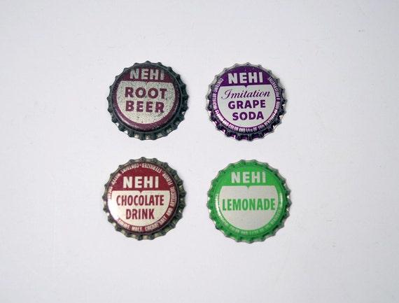 Four Vintage NEHI Bottle Caps