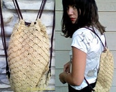 Vintage 1980's Cream/Beige Crochet Miniature Draw String Back Pack