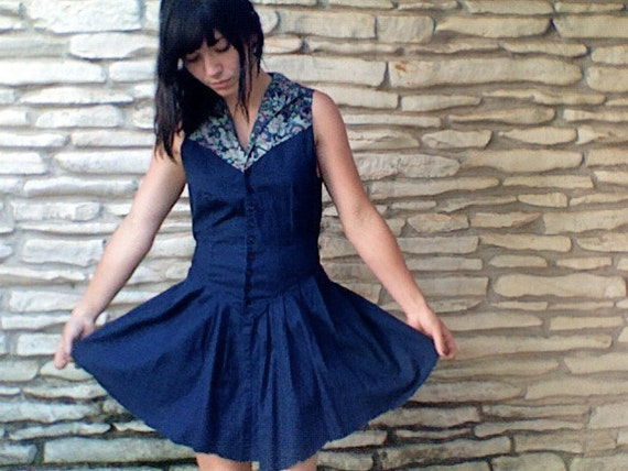 Blue Jean & Floral Country Girl Mini Dress - Button Up Collared Top - Raw Cut Sleeves/ Skirt - Tie Back - Small