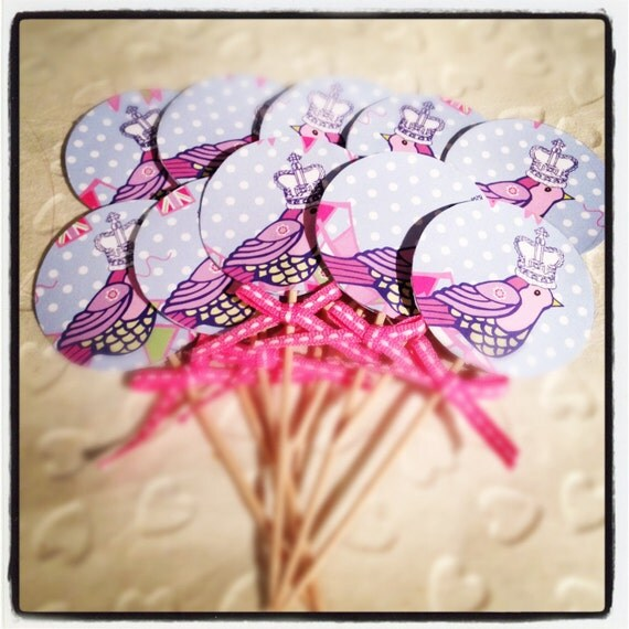 diamond jubilee cupcake toppers set of 10 pretty pink birds best of british
