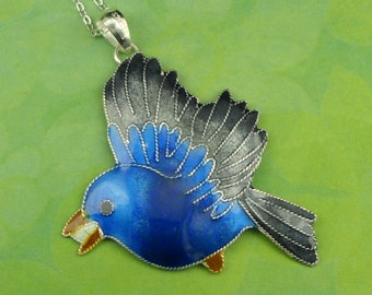 Bird Necklace Sterling Silver And Enamel Blue