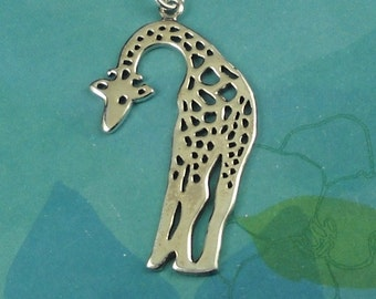 Giraffe Necklace Sterling Silver, Giraffe Jewelry, Giraffe Pendant, Animal Necklace, Animal Jewelry, Gift For Animal Lover, Giraffe Charm