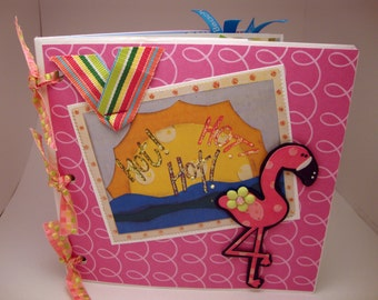 Tropical Vacation scrapbook- paper bag album in hot pink, green and blue