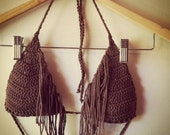 Brown Cotton Fringe Bra / Bikini Top - Medium - Ready to Ship