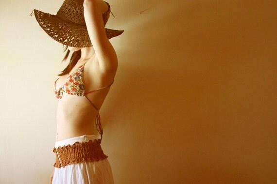 Cross-Back Hippie Bra / Bikini Top - Made To Order - Bamboo Ring - Summer Boho Style