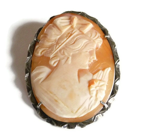 Vintage Cameo Shell Brooch Pin Pendant 800 Silver