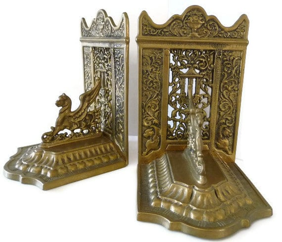 Brass winged griffin bookends 1920s art deco gothic - Gothic bookends ...