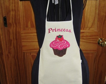 Child's Cupcake/Princess Canvas Apron