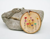 Art Keychain abstract poppies key ring,  key fob,  key charm, bag tag  , nature gift , eco friendly, Unique gifts