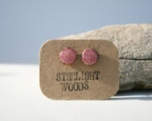 Earrings pink sparkle stud wood earrings, reclaimed wood earrings, gift for nature lover, nature gift, eco-friendly, unique gift for her