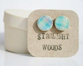 Stud wood Earrings blue plaid ,  reclaimed wood earrings, nature lover, nature gift, eco-friendly, unique gift for her