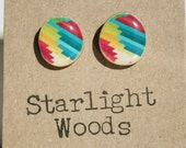 Stud wood Earrings rainbow geometric studs minimalist jewelry wood earrings nature lover nature gift, eco-friendly, unique gift for her