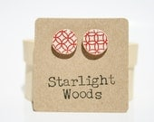 Re Stud earrings. Red Pattern Studs. Red Circle Studs. Cute Red Studs. Wood Earrings. Wood jewelry. Starlight Woods